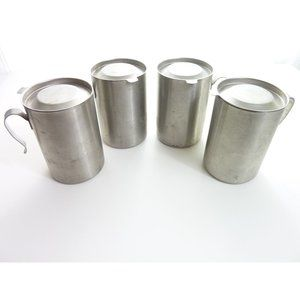Vintage Steel Mugs with Lids